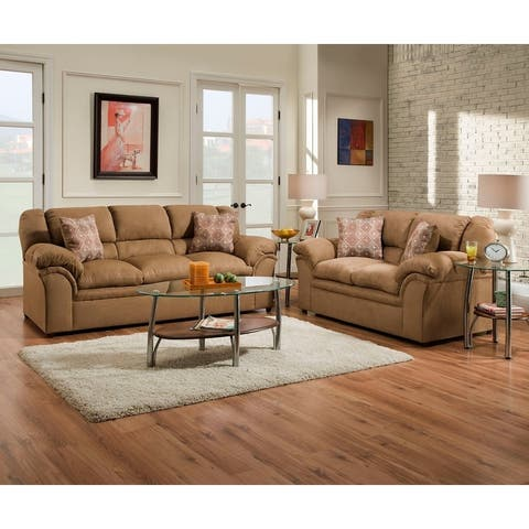 Simmons Upholstery Venture Latte Sofa and Loveseat Set
