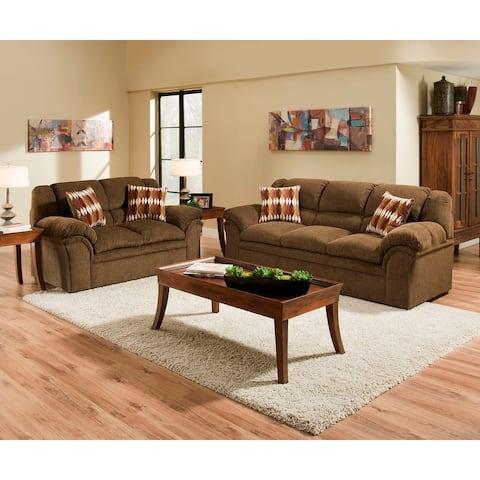 Simmons Upholstery Verona Chocolate Sofa and Loveseat Set