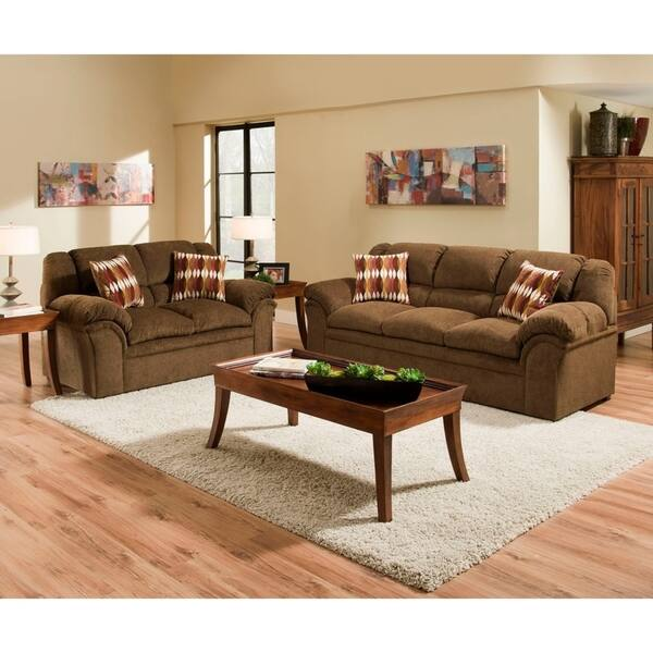 Simmons Upholstery Verona Chocolate Sofa And Loveseat