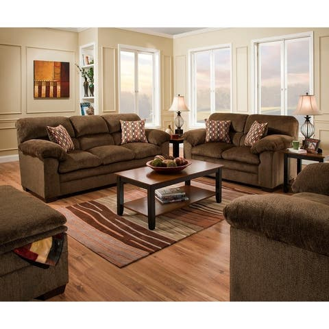 Simmons Upholstery Harlow Chestnut Sofa and Loveseat Set