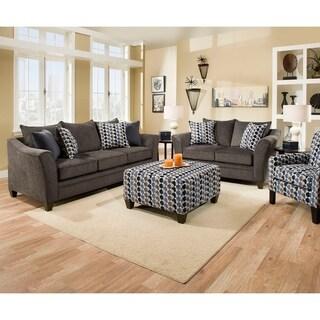 Simmons Upholstery Albany Slate Sofa and Loveseat Set