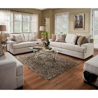 Simmons Upholstery Grenada Natural Sofa and Loveseat Set