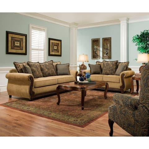 Simmons Upholstery Outback Antique Sofa and Loveseat Set