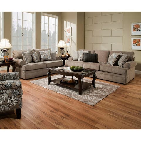 Simmons Upholstery Macey Pewter Sofa and Loveseat Set