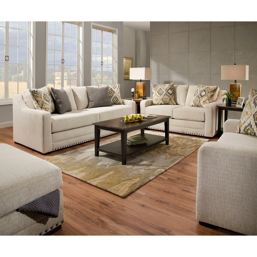 Simmons Upholstery Thaxton Ivory Sofa and Loveseat Set