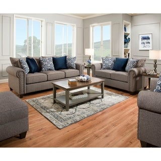 Simmons Upholstery Emma Slate Sofa and Loveseat Set