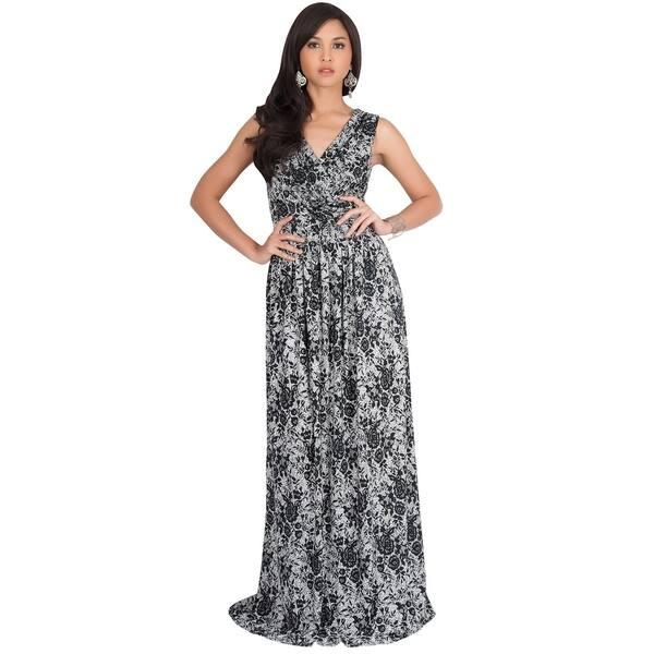 3d7850ec26ff8 Shop KOH KOH Long Sleeveless Lace Floral Print Semi Formal Maxi ...