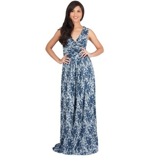 KOH KOH Long Sleeveless Lace Floral Print Semi Formal Maxi Dress Gown