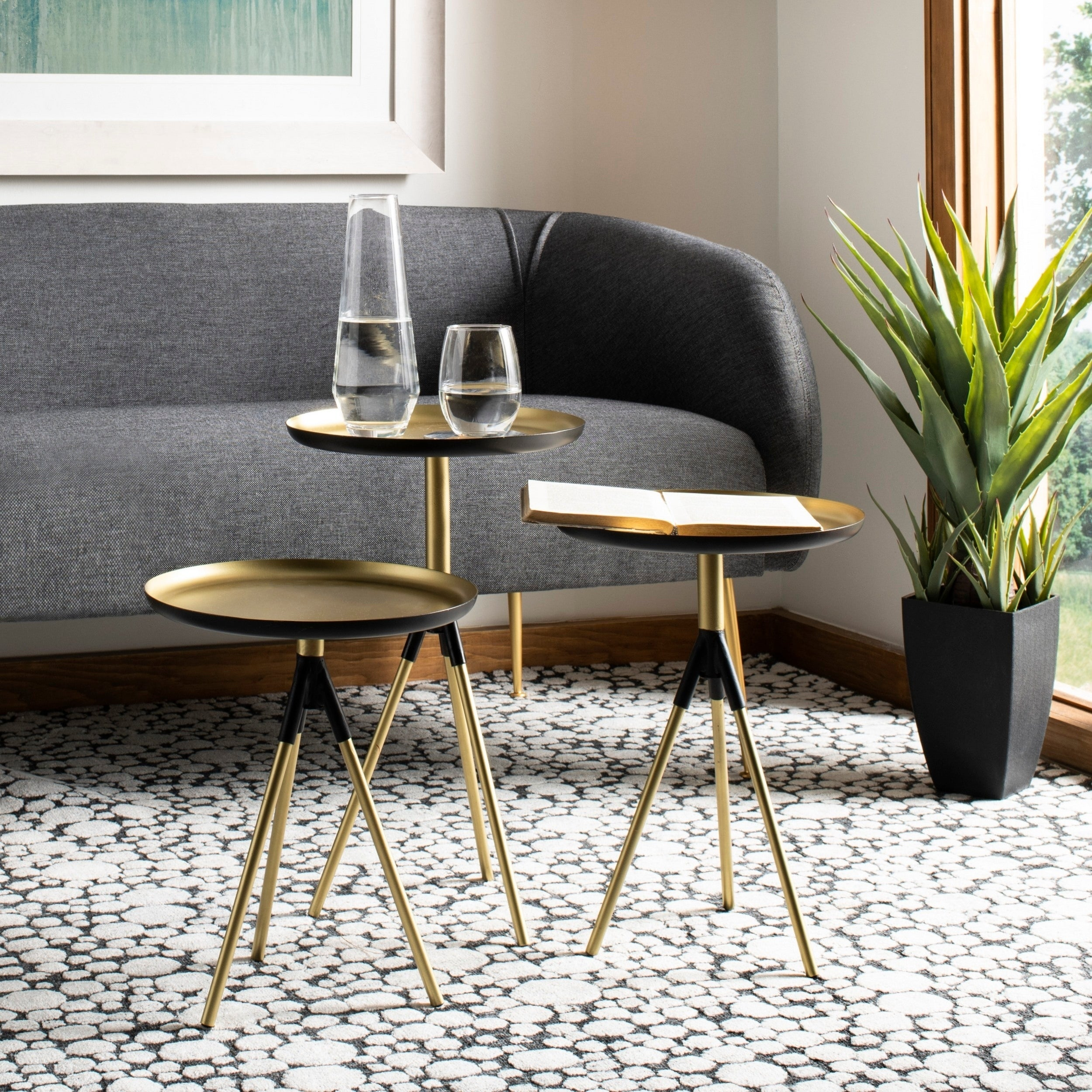 Prime Safavieh Talon Metal Side Table Set Of 3 Gold Black Bralicious Painted Fabric Chair Ideas Braliciousco