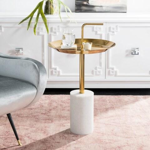 Safavieh Apollo Round Brass Top Side Table - White / Brass