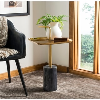"Safavieh Artemis Square Brass Top Side Table - Black / Brass - 15.8"" x 15.8"" x 27.8"""