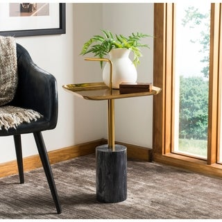 Safavieh Artemis Square Brass Top Side Table - Black / Brass