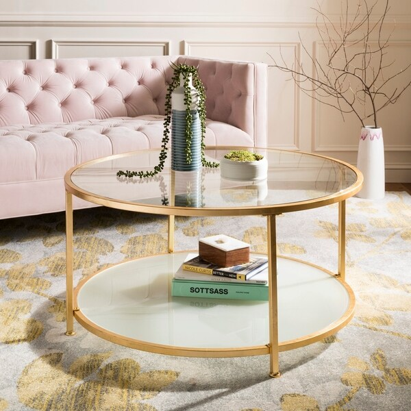 """Safavieh Ivy 2 Tier Round Coffee Table - Clear / Gold - 38"""" x 38"""" x 19"""""""