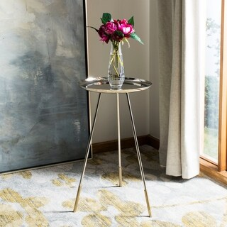 Safavieh Calix Tri Leg Contemporary Glam Side Table - Nickle / Gold
