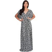 KOH KOH Womens Boho Print Short Batwing Split Sleeve Maxi Dress
