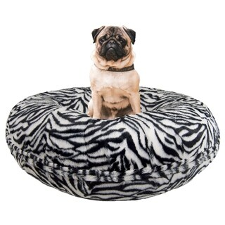 Bessie and Barnie Signature Zebra Luxury Extra Plush Faux Fur Bagel Pet / Dog Bed