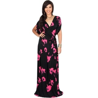 KOH KOH Womens Sexy Cute Floral Print Cross Over Cocktail Maxi Dress