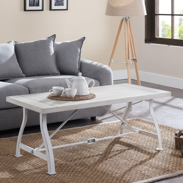 Jaiden Distressed White Farmhouse Coffee Table