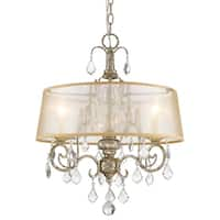 Catelyn 3-Light Antique Silver Leaf Chandelier with Sheer Hardbacked Shade