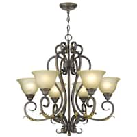 Lilianna 6-Light Oil Rubbed Bronze Chandelier with Tea-Stained Glass Shades