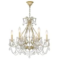 Sirét Camellia 6-Light Washed Gold Chandelier with Crystals.