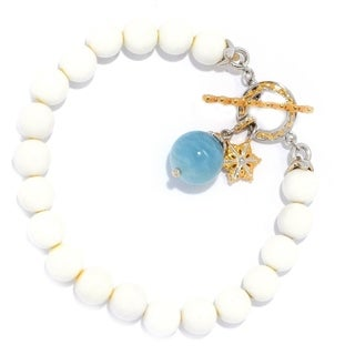 Michael Valitutti Palladium Silver White Agate Beaded Bracelet w/ Blue Aquamarine Charm Drop