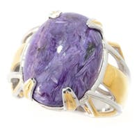 Michael Valitutti Men's Palladium Silver Oval Cabochon Purple Charoite Cut-out Shank Polished Ring