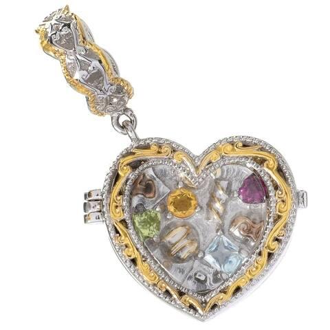 Michael Valitutti Palladium Silver Heart Glass, Round Citrine & Multi Gemstone Treasure Chest Locket Drop Charm