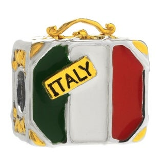 Michael Valitutti Palladium Silver Italian Flag Suitcase Slide-on Charm
