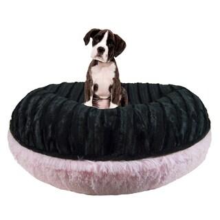 Bessie and Barnie Signature Black Puma/ Bubble Gum Luxury Shag Extra Plush Faux Fur Bagel Pet / Dog Bed