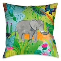 Laural Home Tropical Elephant Outdoor Throw Pillow