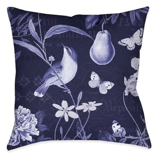 Laural Home Blue Florals I Outdoor Throw Pillow