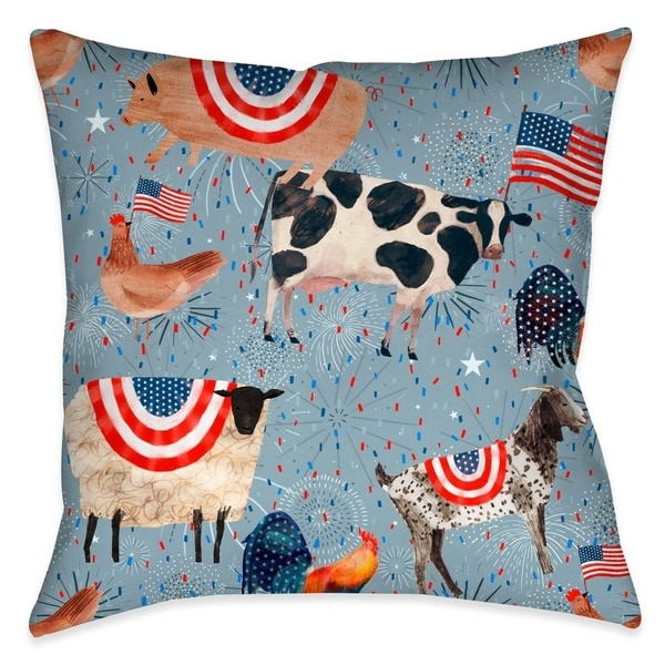Laural Home Patriotic Farm Animals Outdoor Throw Pillow