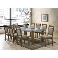 Costabella Dining Collection 9 PC Set, Storage Butterfly Leaf Table with 8 Chairs