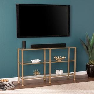 Jensen Narrow Metal Console Table w/ Glass Shelves - Gold