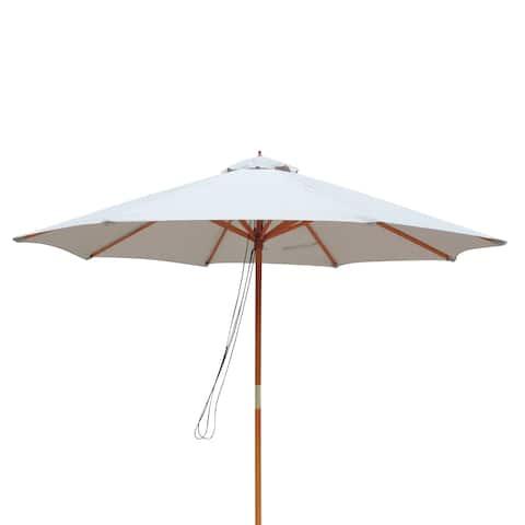 Tranquility 9-ft Hardwood Market Umbrella in Champagne Olefin