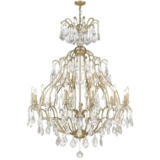 Sirét Brienne 18-Light Washed Gold Chandelier with Fire-Molded Crystals. - N/A