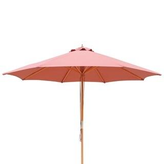 Tranquility 9-ft Hardwood Market Umbrella in Terra Cotta Olefin