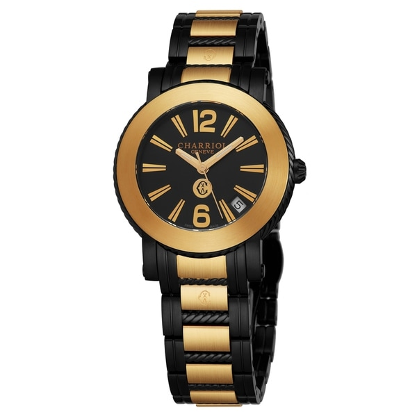 Charriol Women's P33BYM.P33BYM.009 'Parisi' Black Dial Two Tone Black Stainless Steel Swiss Quartz Watch