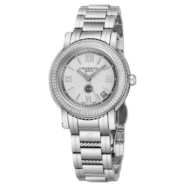 ed3fd672170 Shop Charriol Women s P33SD.P33.001  Parisi  Silver Dial Stainless ...