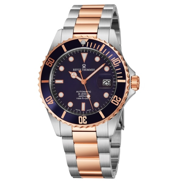Revue Thommen 17571.2155 'Diver' Blue Dial Two Tone Stainless Steel Swiss Automatic Watch. Opens flyout.