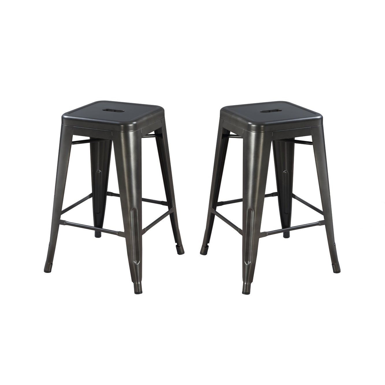 Outstanding Emerald Home Dakota Ii Gunmetal Gray 24 Bar Stool With All Metal Seat And Frame Set Of Two Theyellowbook Wood Chair Design Ideas Theyellowbookinfo