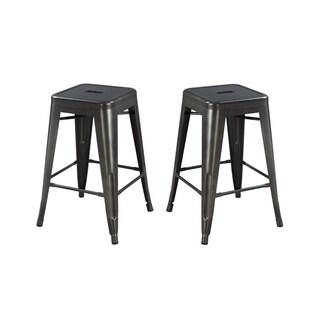 "Emerald Home Dakota II Metal Seat 24"" Bar Stool, Gunmetal Gray (Set of 2)"