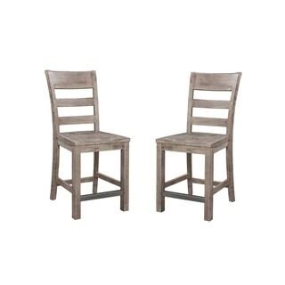 "Emerald Home Dakota Ladder Back Wood Seat 24"" Bar Stool, Charcoal (Set of 2)"