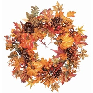 "Pumpkin Pine Cone Maple Wreath 24"" on Vine Base"
