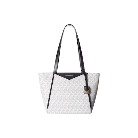 fca4fd53d6ef Michael Kors Whitney Signature Small Top Zip White Navy Tote