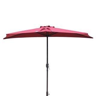 Lanai 9-ft Half Umbrella in Burgundy Polyester