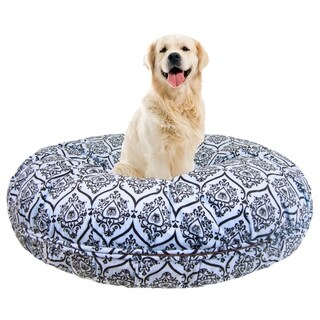 Bessie and Barnie Signature Versailles Blue Luxury Extra Plush Faux Fur Bagel Pet / Dog Bed