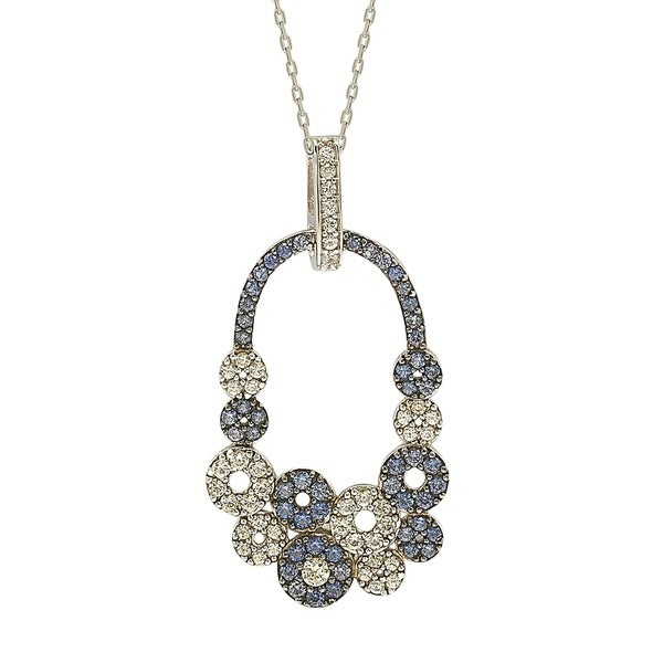 1dd26b99f Shop Suzy Levian Sapphire and Diamond Accent in Sterling Silver Multi  Circle Pendant - Free Shipping Today - Overstock - 22364982