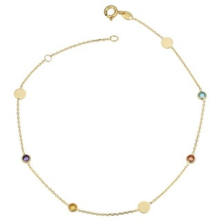 Fremada Italian 14k Yellow Gold Disc and Multicolored Tourmaline Station Adjustable Length Anklet (fits 9 or 10 inches)